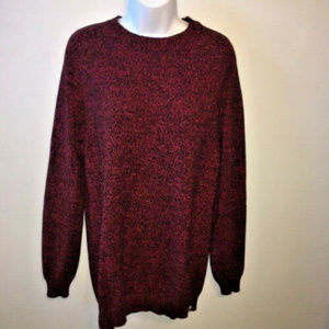 Divided Red Black Marled Pullover Tunic Sweater L